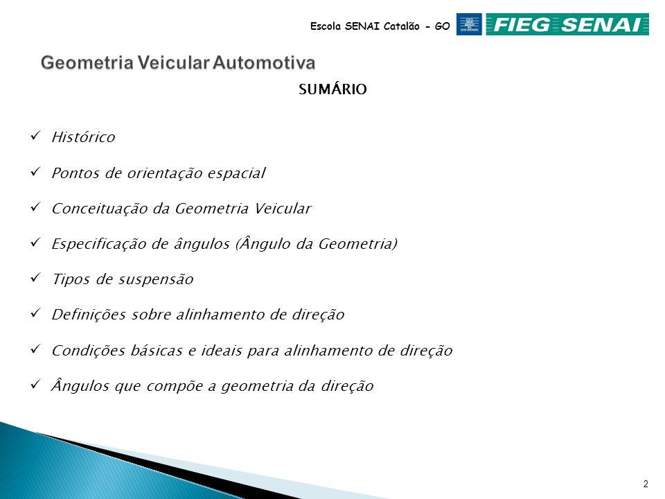 Fausto David Pereira Instrutor de Manutenção Automotiva GEOMETRIA DA DIREÇÃO Sistema de Alinhamento Veicular Automotivo Escola SENAI Catalão - GO