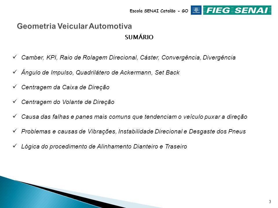 2 Escola SENAI Catalão - GO SUMÁRIO Histórico Pontos de orientação espacial Conceituação da Geometria Veicular Especificação de ângulos (Ângulo da Geo