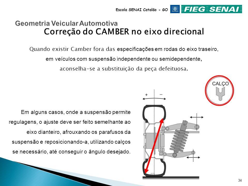 33 Escola SENAI Catalão - GO Correção do CAMBER no eixo direcional Quando existir Camber fora das especificações em rodas do eixo dianteiro, em veículos com suspensão independente, aconselha-se a substituição da peça defeituosa.