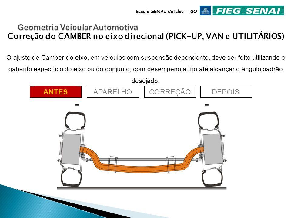 34 Escola SENAI Catalão - GO Correção do CAMBER no eixo direcional Quando existir Camber fora das especificações em rodas do eixo traseiro, em veículo