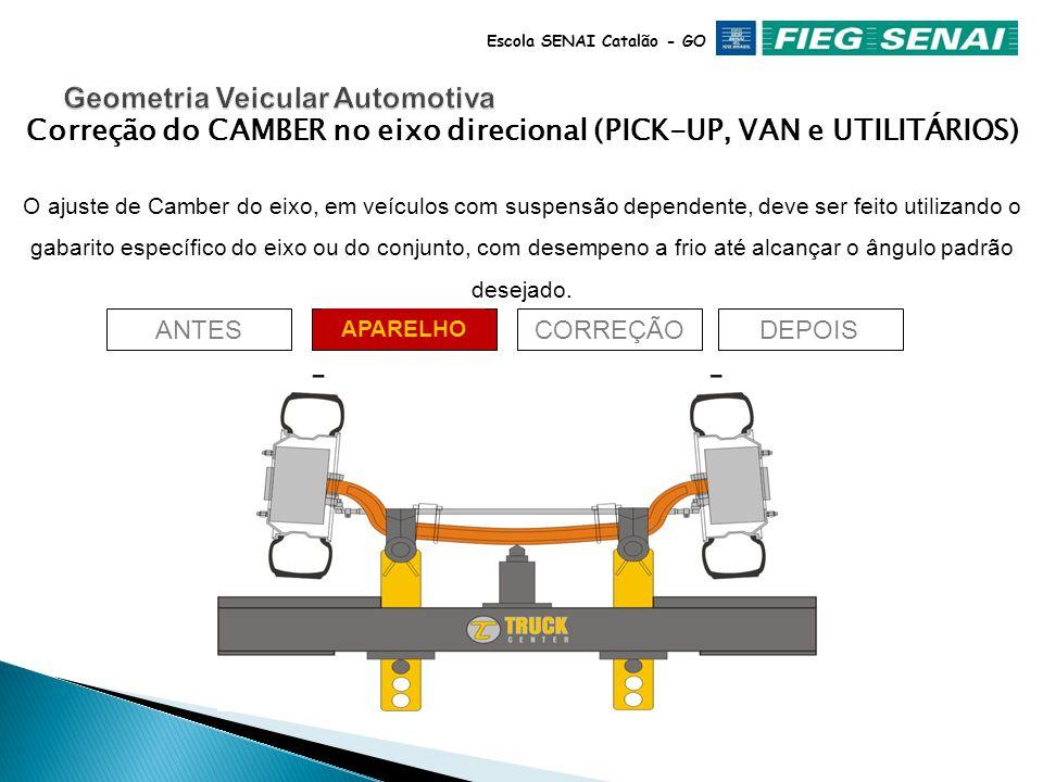Escola SENAI Catalão - GO Correção do CAMBER no eixo direcional (PICK-UP, VAN e UTILITÁRIOS) O ajuste de Camber do eixo, em veículos com suspensão dep