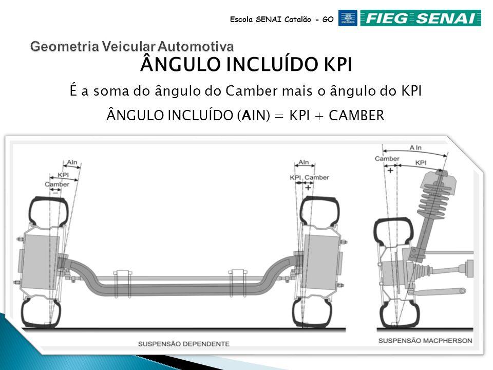 Escola SENAI Catalão - GO KPI É o ângulo transversal, do Pino Mestre, em relação ao plano de apoio do veículo