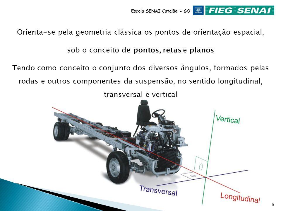 4 Escola SENAI Catalão - GO O Alinhamento da DIREÇÃO tem a função de aferir a geometria do automóvel, através da medição dos ângulos padrões existente