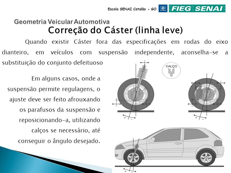 Escola SENAI Catalão - GO CÁSTER É o ângulo longitudinal do Pino Mestre em relação ao plano de apoio do veículo, está diretamente relacionado à centralização do eixo da roda em relação ao pino mestre.