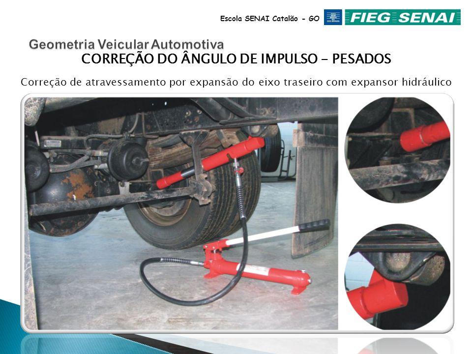 Escola SENAI Catalão - GO ÂNGULO DE IMPLUSO Quando o Ângulo de Impulso estiver fora das especificações, em veículos com suspensão independente, aconselha-se a substituição da peça defeituosa.