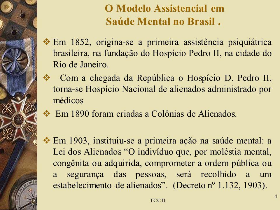 TCC II 4 O Modelo Assistencial em Saúde Mental no Brasil.  Em 1852, origina-se a primeira assistência psiquiátrica brasileira, na fundação do Hospíci