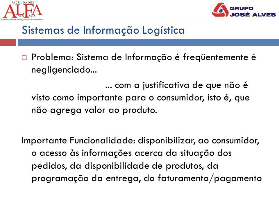 Sistemas de Informação Logística  Problema: Sistema de Informação é freqüentemente é negligenciado...... com a justificativa de que não é visto como