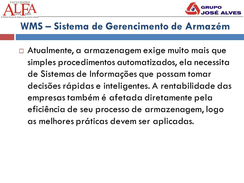 WMS – Sistema de Gerencimento de Armazém  Atualmente, a armazenagem exige muito mais que simples procedimentos automatizados, ela necessita de Sistem