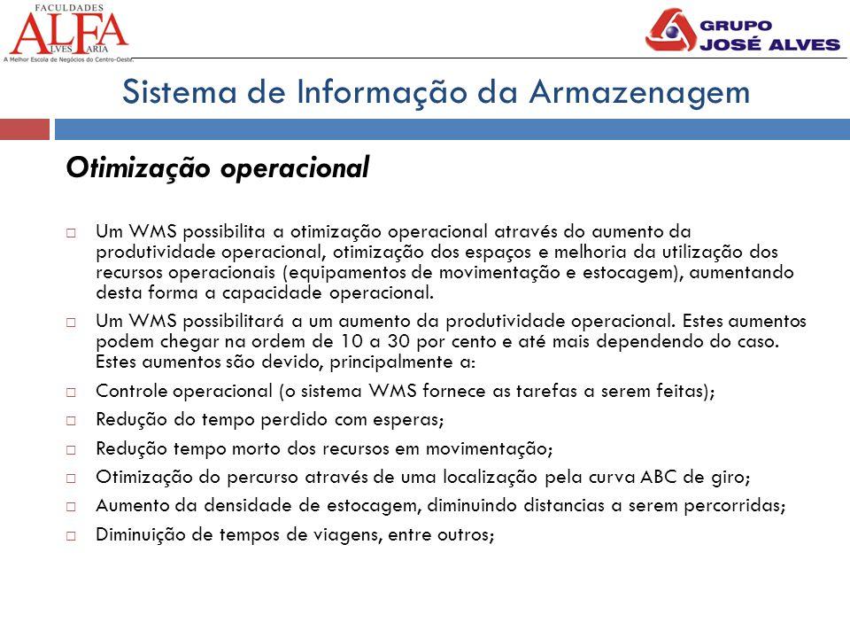 Otimização operacional  Um WMS possibilita a otimização operacional através do aumento da produtividade operacional, otimização dos espaços e melhoria da utilização dos recursos operacionais (equipamentos de movimentação e estocagem), aumentando desta forma a capacidade operacional.