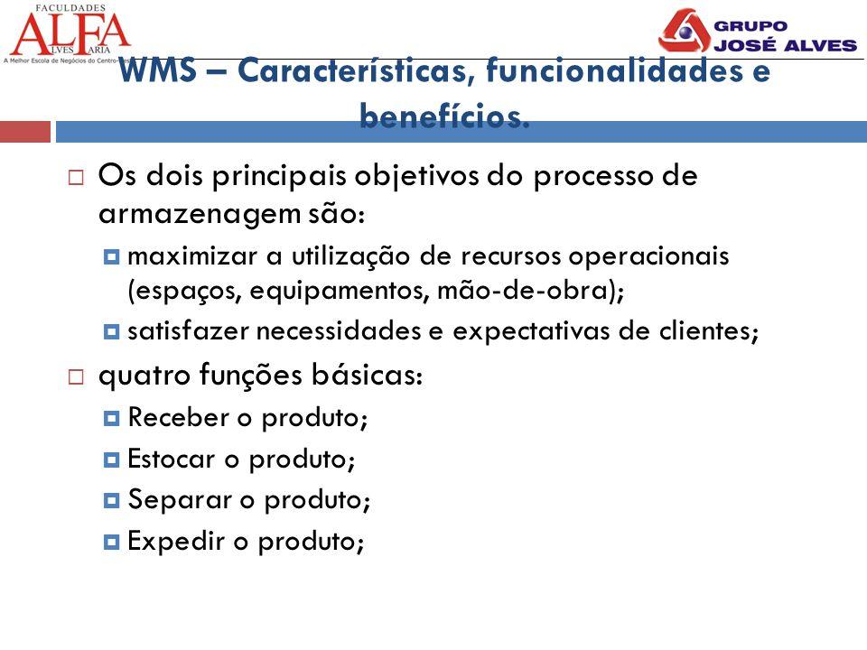 WMS – Características, funcionalidades e benefícios.  Os dois principais objetivos do processo de armazenagem são:  maximizar a utilização de recurs