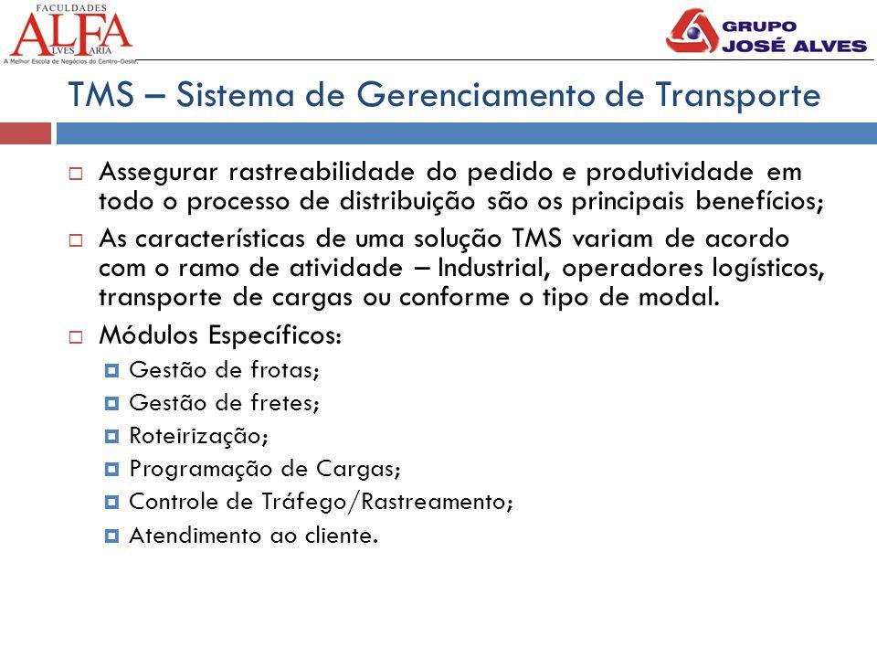 TMS – Sistema de Gerenciamento de Transporte  Assegurar rastreabilidade do pedido e produtividade em todo o processo de distribuição são os principai