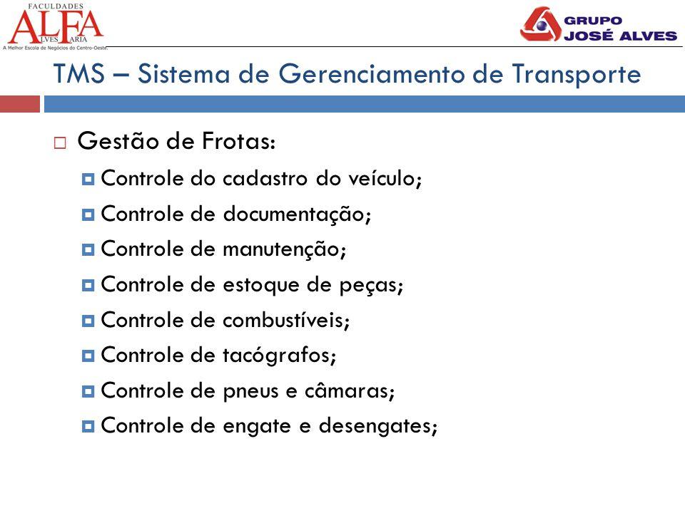 TMS – Sistema de Gerenciamento de Transporte  Gestão de Frotas:  Controle do cadastro do veículo;  Controle de documentação;  Controle de manutenç