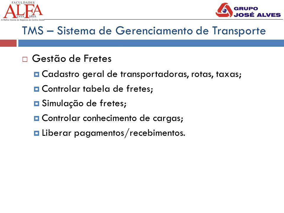 TMS – Sistema de Gerenciamento de Transporte  Gestão de Fretes  Cadastro geral de transportadoras, rotas, taxas;  Controlar tabela de fretes;  Sim