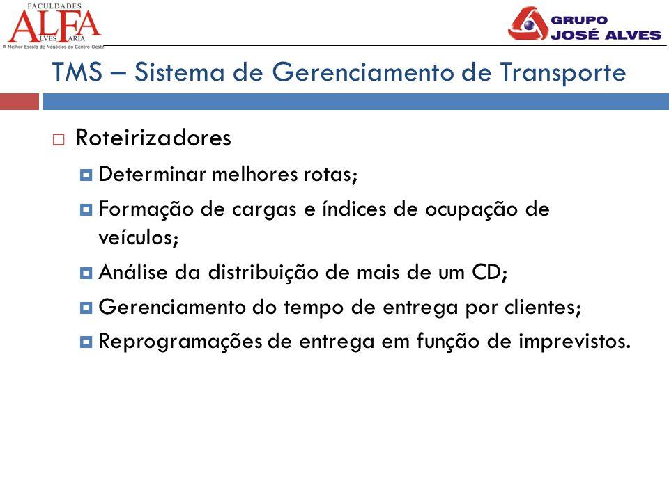 TMS – Sistema de Gerenciamento de Transporte  Roteirizadores  Determinar melhores rotas;  Formação de cargas e índices de ocupação de veículos;  A