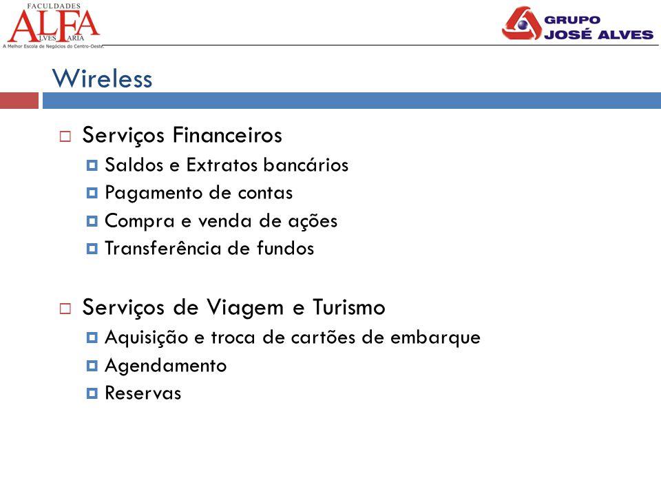 Wireless  Serviços Financeiros  Saldos e Extratos bancários  Pagamento de contas  Compra e venda de ações  Transferência de fundos  Serviços de Viagem e Turismo  Aquisição e troca de cartões de embarque  Agendamento  Reservas