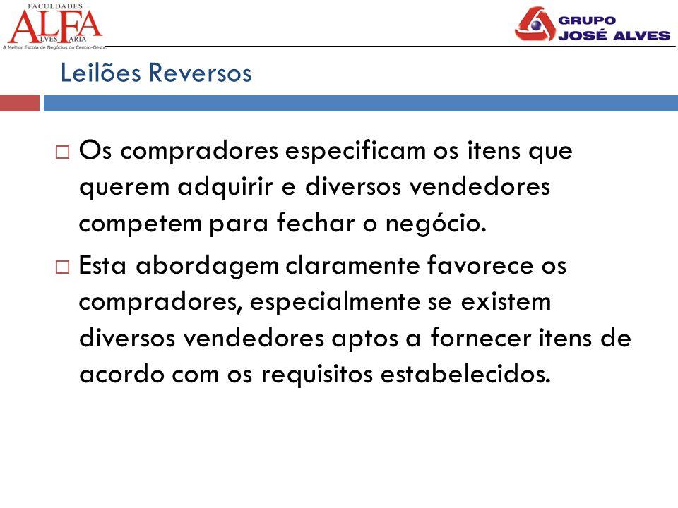 Leilões Reversos  Os compradores especificam os itens que querem adquirir e diversos vendedores competem para fechar o negócio.  Esta abordagem clar