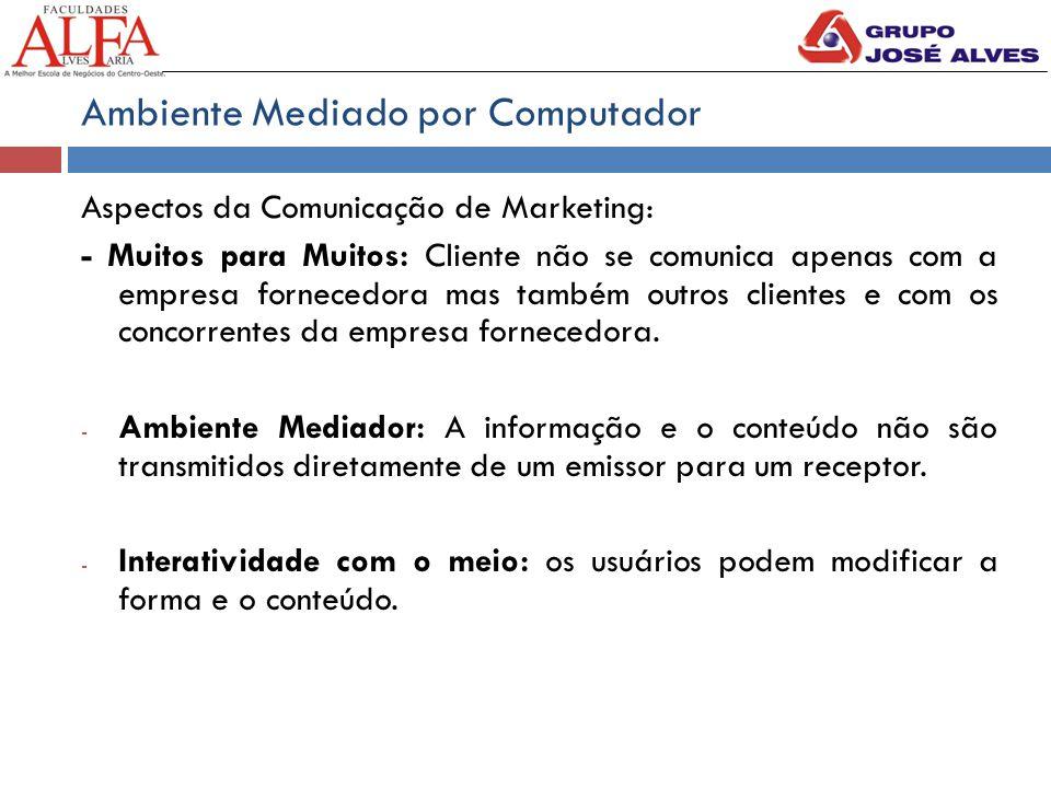 Ambiente Mediado por Computador Aspectos da Comunicação de Marketing: - Muitos para Muitos: Cliente não se comunica apenas com a empresa fornecedora m