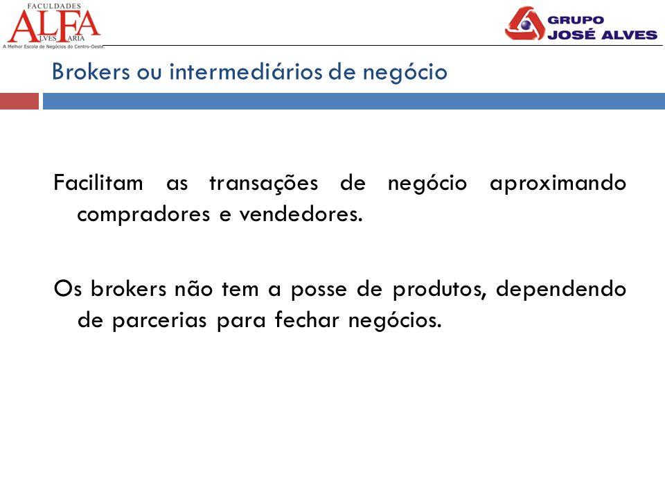 Brokers ou intermediários de negócio Facilitam as transações de negócio aproximando compradores e vendedores.