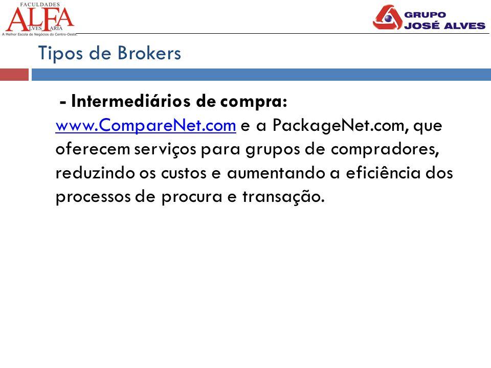 Tipos de Brokers - Intermediários de compra: www.CompareNet.com e a PackageNet.com, que oferecem serviços para grupos de compradores, reduzindo os custos e aumentando a eficiência dos processos de procura e transação.