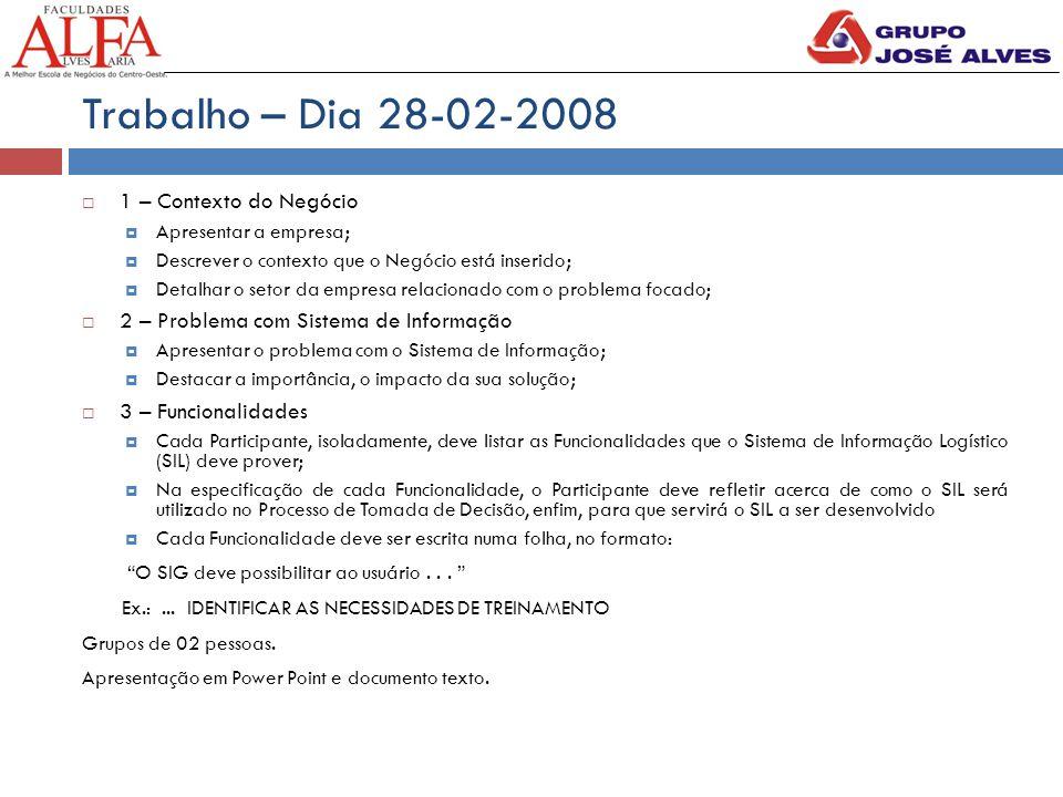 Trabalho – Dia 28-02-2008  1 – Contexto do Negócio  Apresentar a empresa;  Descrever o contexto que o Negócio está inserido;  Detalhar o setor da