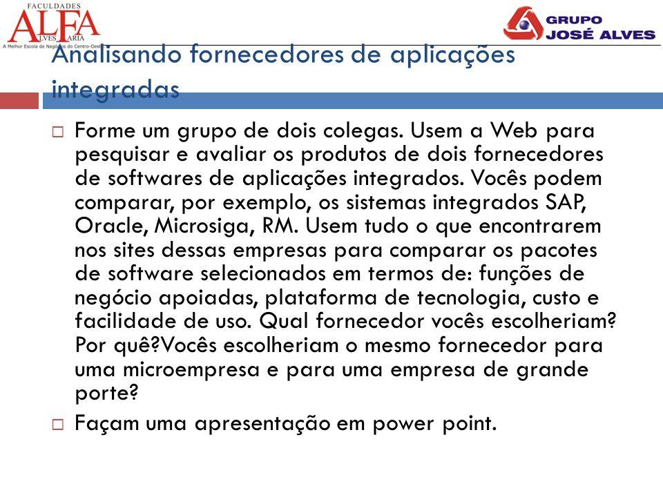 Analisando fornecedores de aplicações integradas  Forme um grupo de dois colegas. Usem a Web para pesquisar e avaliar os produtos de dois fornecedore
