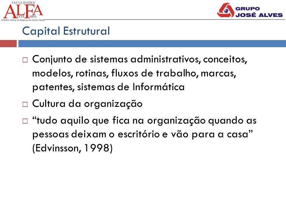 Capital Estrutural  Conjunto de sistemas administrativos, conceitos, modelos, rotinas, fluxos de trabalho, marcas, patentes, sistemas de Informática