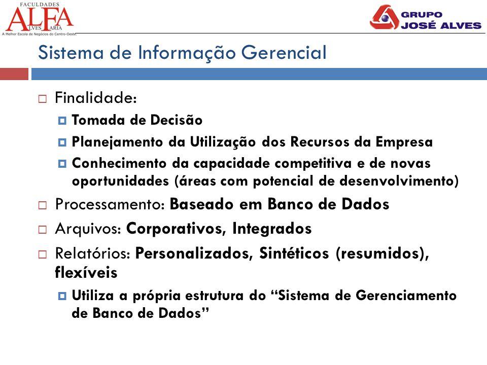 Sistema de Informação Gerencial  Finalidade:  Tomada de Decisão  Planejamento da Utilização dos Recursos da Empresa  Conhecimento da capacidade co