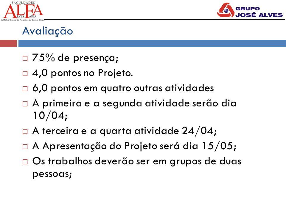 Avaliação  75% de presença;  4,0 pontos no Projeto.  6,0 pontos em quatro outras atividades  A primeira e a segunda atividade serão dia 10/04;  A