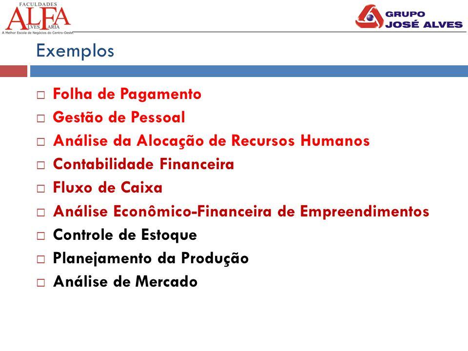 Exemplos  Folha de Pagamento  Gestão de Pessoal  Análise da Alocação de Recursos Humanos  Contabilidade Financeira  Fluxo de Caixa  Análise Econômico-Financeira de Empreendimentos  Controle de Estoque  Planejamento da Produção  Análise de Mercado