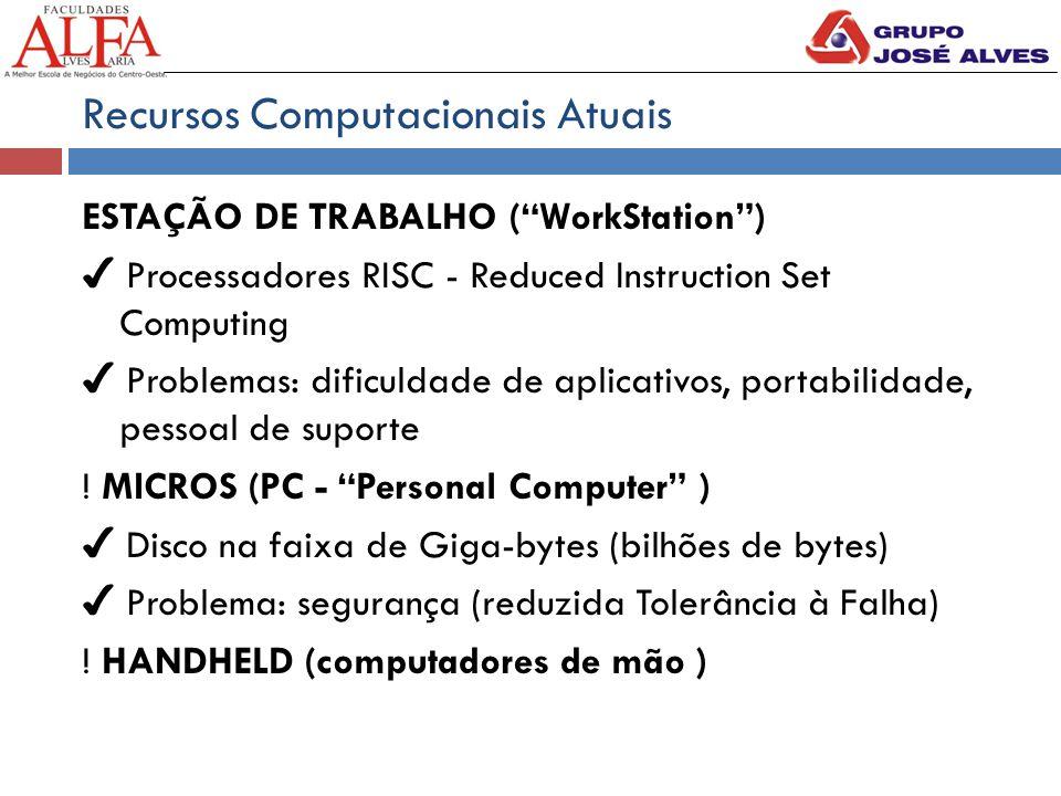 Recursos Computacionais Atuais ESTAÇÃO DE TRABALHO ( WorkStation ) ✔ Processadores RISC - Reduced Instruction Set Computing ✔ Problemas: dificuldade de aplicativos, portabilidade, pessoal de suporte .