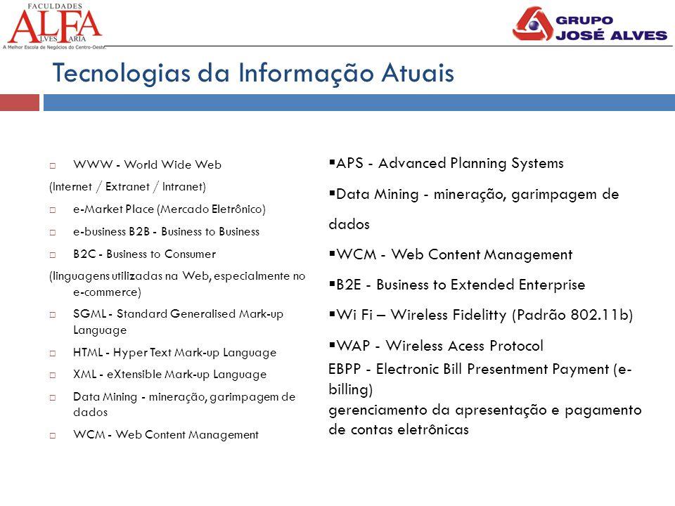 Tecnologias da Informação Atuais  WWW - World Wide Web (Internet / Extranet / Intranet)  e-Market Place (Mercado Eletrônico)  e-business B2B - Busi
