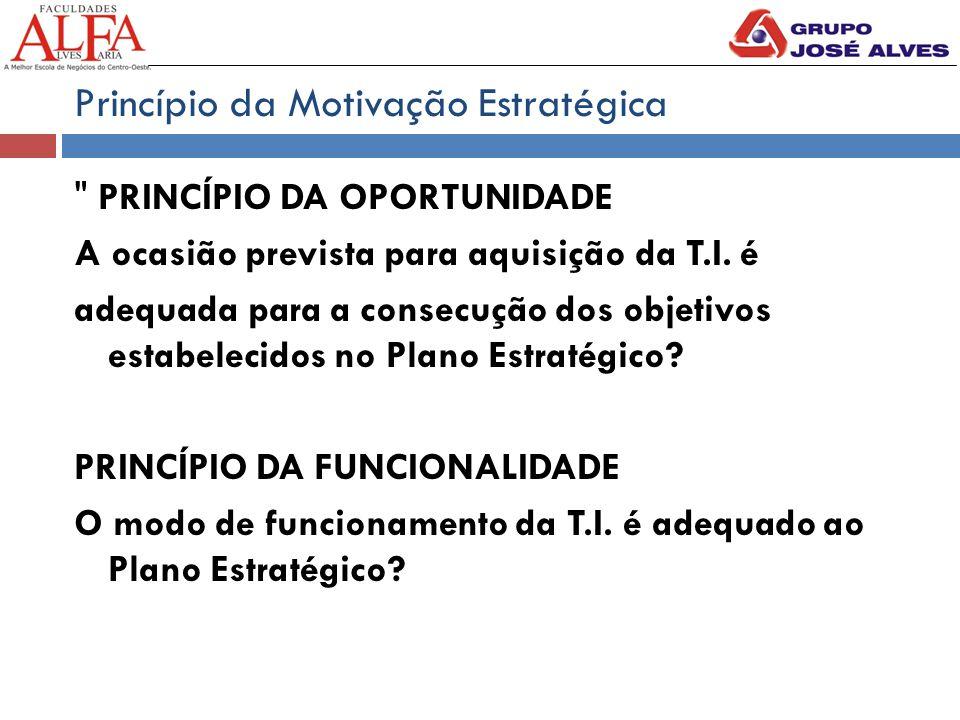 Princípio da Motivação Estratégica PRINCÍPIO DA OPORTUNIDADE A ocasião prevista para aquisição da T.I.
