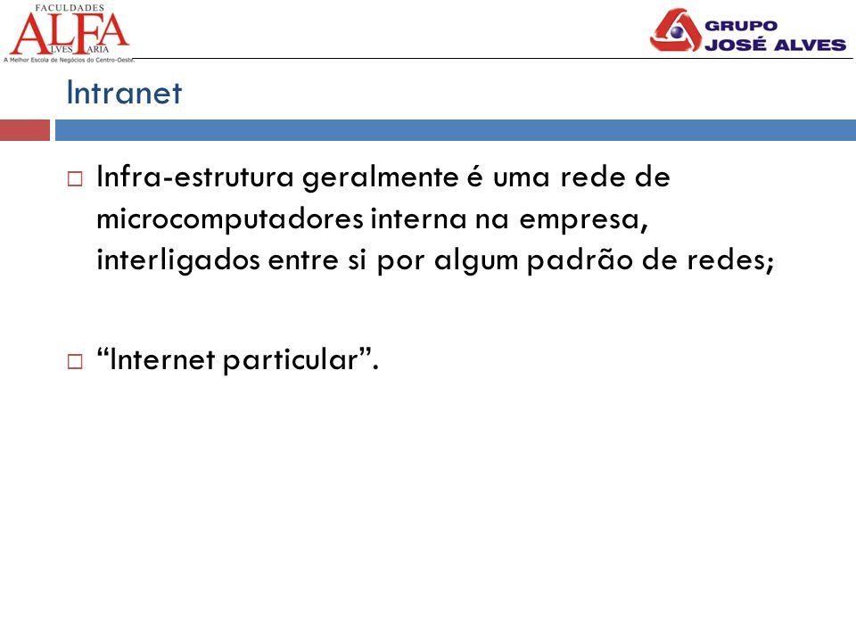 Intranet  Infra-estrutura geralmente é uma rede de microcomputadores interna na empresa, interligados entre si por algum padrão de redes;  Internet particular .