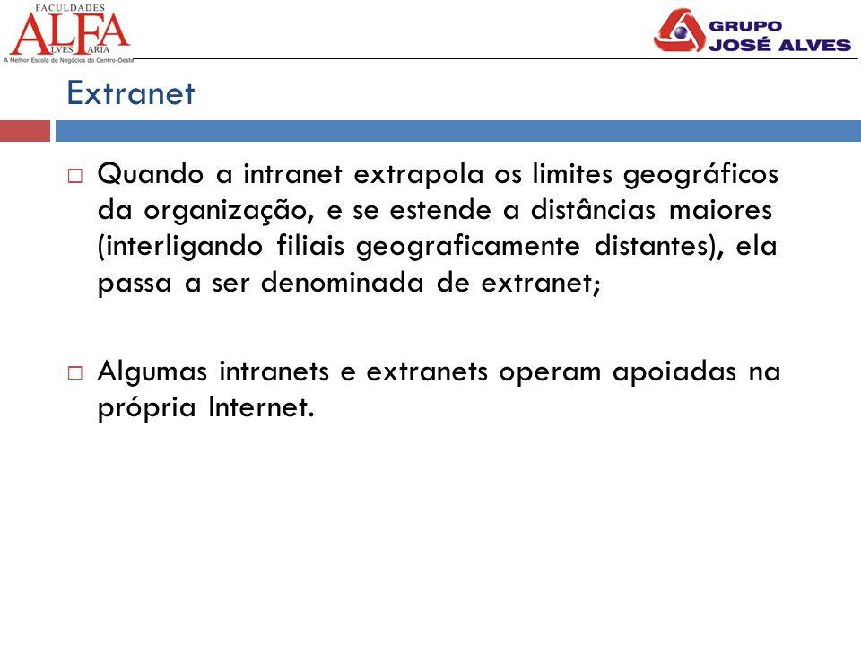 Extranet  Quando a intranet extrapola os limites geográficos da organização, e se estende a distâncias maiores (interligando filiais geograficamente distantes), ela passa a ser denominada de extranet;  Algumas intranets e extranets operam apoiadas na própria Internet.