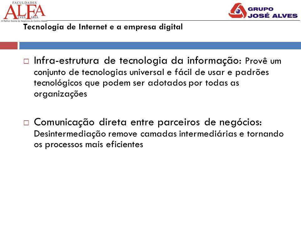 Tecnologia de Internet e a empresa digital  Infra-estrutura de tecnologia da informação: Provê um conjunto de tecnologias universal e fácil de usar e