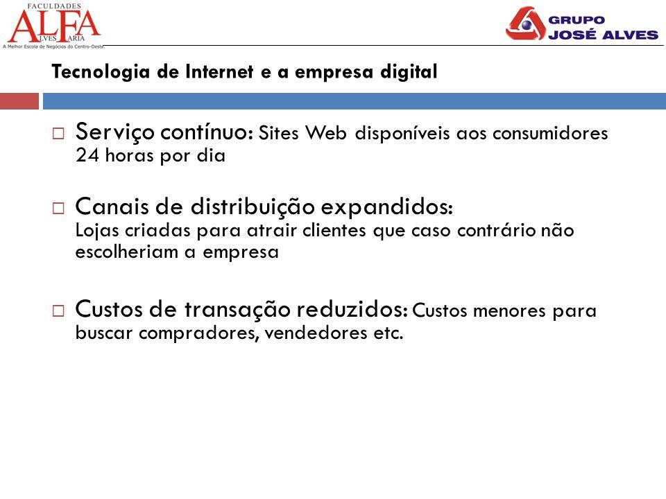 Tecnologia de Internet e a empresa digital  Serviço contínuo: Sites Web disponíveis aos consumidores 24 horas por dia  Canais de distribuição expand