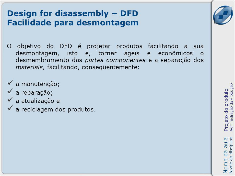 Nome da aula Nome da disciplina Projeto do produto Administração da Produção Design for disassembly – DFD Facilidade para desmontagem O objetivo do DF