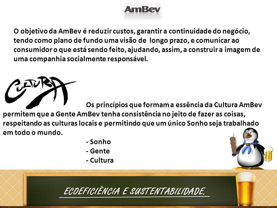 Os princípios que formam a essência da Cultura AmBev permitem que a Gente AmBev tenha consistência no jeito de fazer as coisas, respeitando as cultura