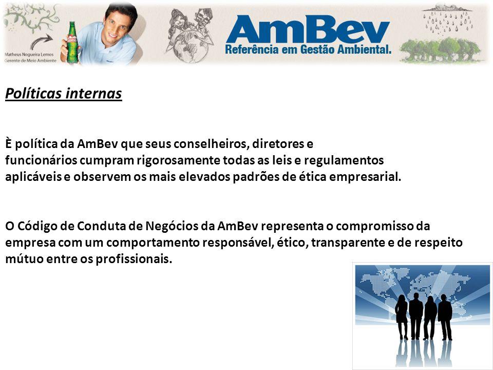 Políticas internas È política da AmBev que seus conselheiros, diretores e funcionários cumpram rigorosamente todas as leis e regulamentos aplicáveis e