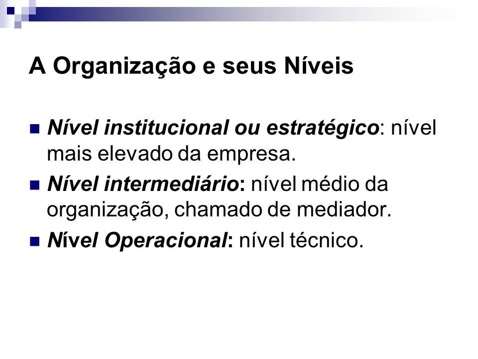 A Organização e seus Níveis Nível institucional ou estratégico: nível mais elevado da empresa. Nível intermediário: nível médio da organização, chamad