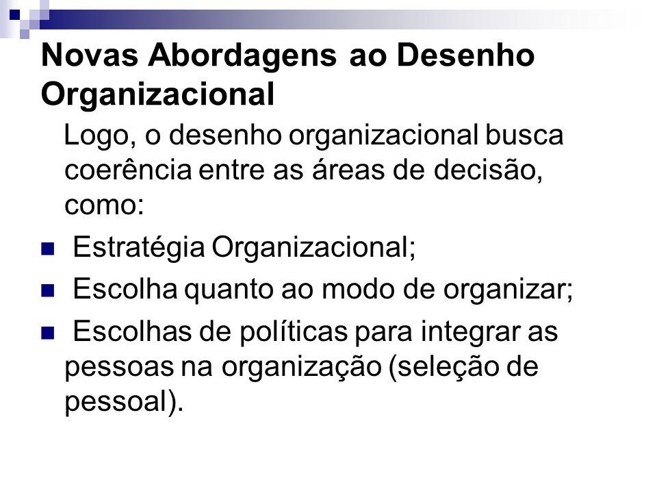 Novas Abordagens ao Desenho Organizacional Logo, o desenho organizacional busca coerência entre as áreas de decisão, como: Estratégia Organizacional;