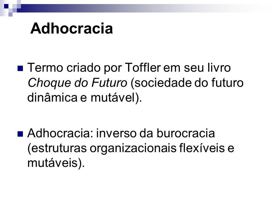 Adhocracia Termo criado por Toffler em seu livro Choque do Futuro (sociedade do futuro dinâmica e mutável). Adhocracia: inverso da burocracia (estrutu