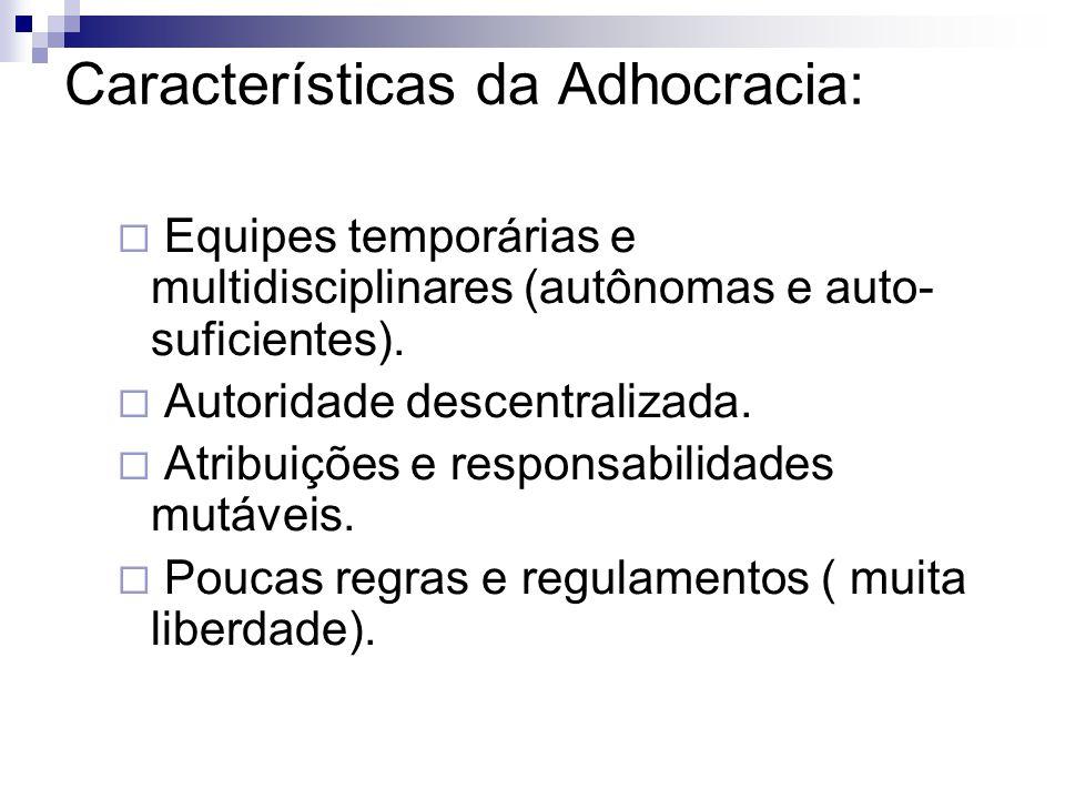Características da Adhocracia:  Equipes temporárias e multidisciplinares (autônomas e auto- suficientes).  Autoridade descentralizada.  Atribuições