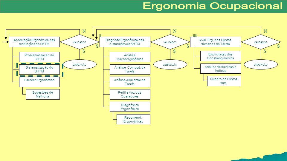 Diagnose Ergonômica das disfunções do SHTM Apreciação Ergonômica das disfunções do SHTM VALIDADO? DISFUNÇÃO VALIDADO? DISFUNÇÃO Aval. Erg. dos Custos