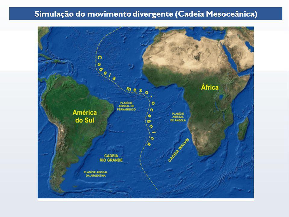 Simulação do movimento divergente (Cadeia Mesoceânica)