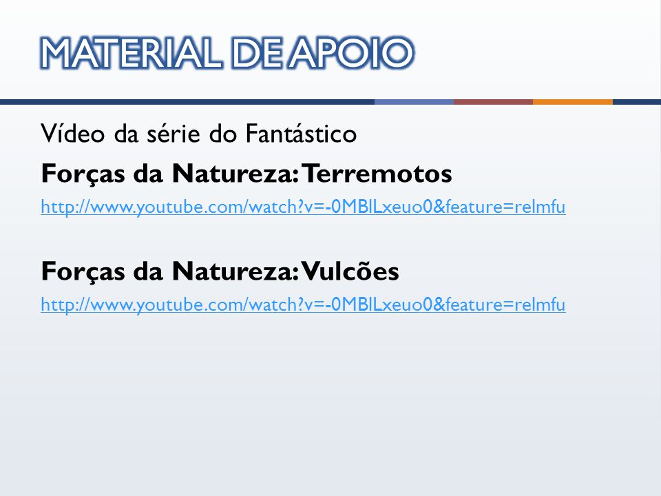 Vídeo da série do Fantástico Forças da Natureza: Terremotos http://www.youtube.com/watch v=-0MBlLxeuo0&feature=relmfu Forças da Natureza: Vulcões http://www.youtube.com/watch v=-0MBlLxeuo0&feature=relmfu