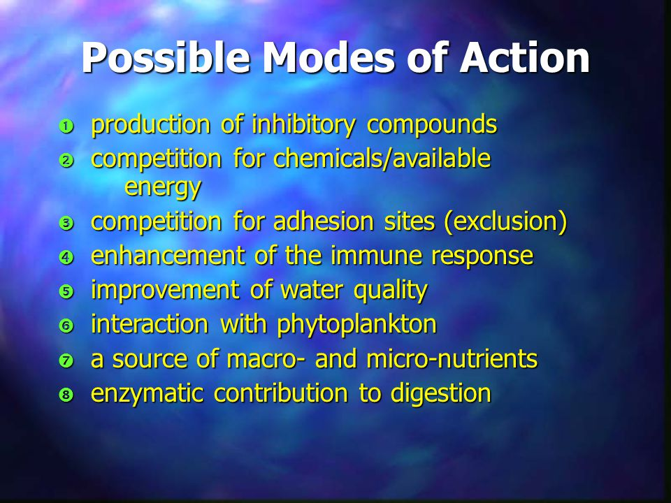 Possible Modes of Action  production of inhibitory compounds  competition for chemicals/available energy  competition for adhesion sites (exclusion)  enhancement of the immune response  improvement of water quality  interaction with phytoplankton  a source of macro- and micro-nutrients  enzymatic contribution to digestion