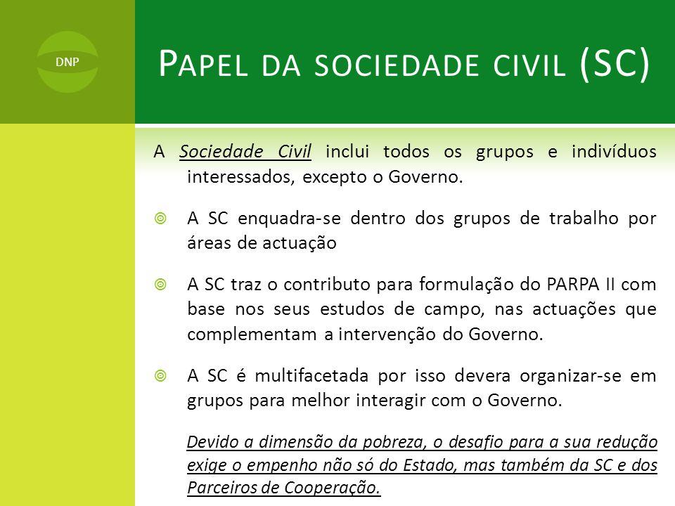 A Sociedade Civil inclui todos os grupos e indivíduos interessados, excepto o Governo.  A SC enquadra-se dentro dos grupos de trabalho por áreas de a