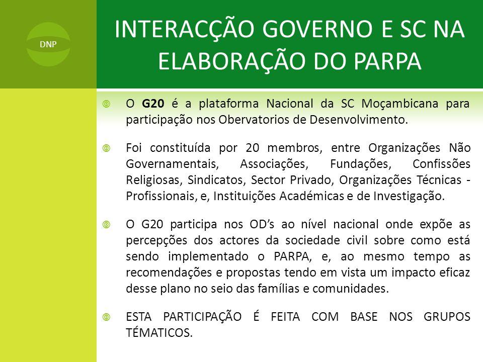  O G20 é a plataforma Nacional da SC Moçambicana para participação nos Obervatorios de Desenvolvimento.  Foi constituída por 20 membros, entre Organ