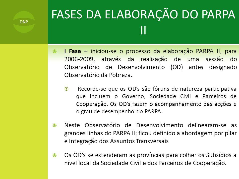  I Fase – iniciou-se o processo da elaboração PARPA II, para 2006-2009, através da realização de uma sessão do Observatório de Desenvolvimento (OD) antes designado Observatório da Pobreza.